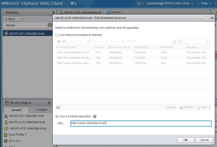 Select Shared Repository and enter a URL