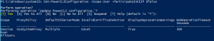 Set-PowerCLIConfiguration -Scope User -ParticipateInCEIP pic7