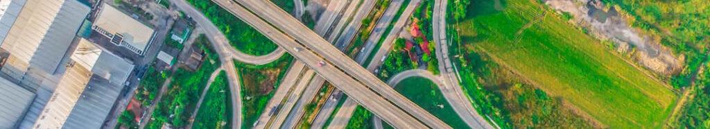 Aerial view Expressway motorway highway circus intersection at Day time Top view , Bangkok, Thailand-Narrow Banner