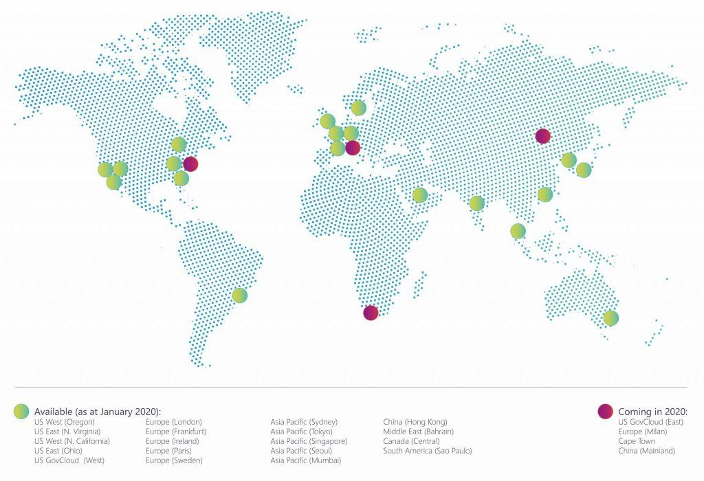 Map of AWS DatacentersJan2020-01-01