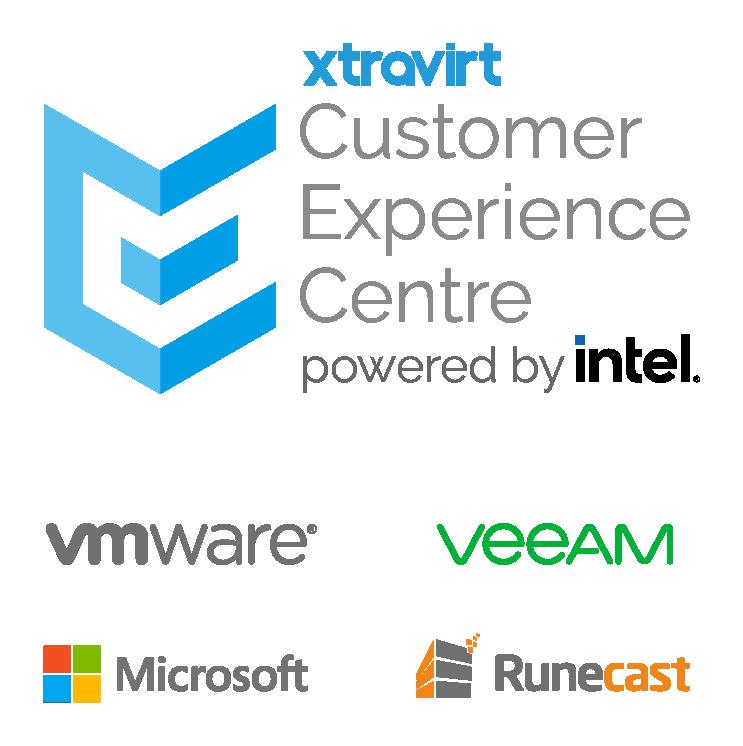 Xtravirt Customer Experience Centre Lock up with VMware Veeam Microsoft and Runecast Logos